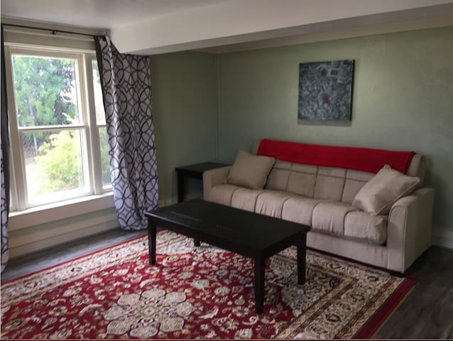 Sofa pulls out to a full size bed-sheets, blankets, pillow located in bedroom dresser