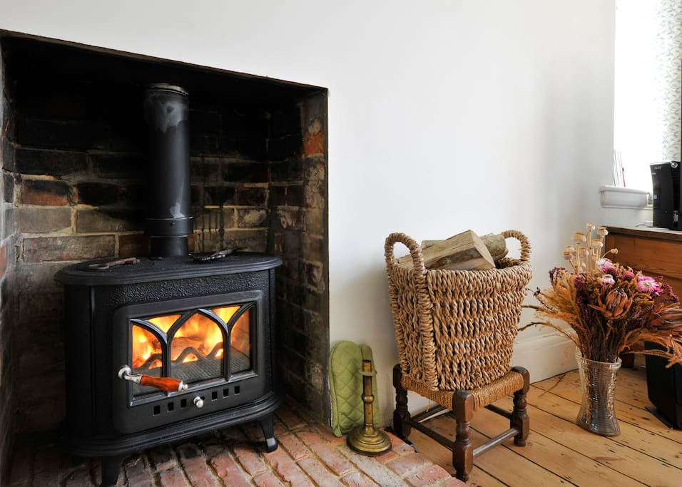 Our new log burner for those cozy Winter nights in. Logs and kindling provided!
