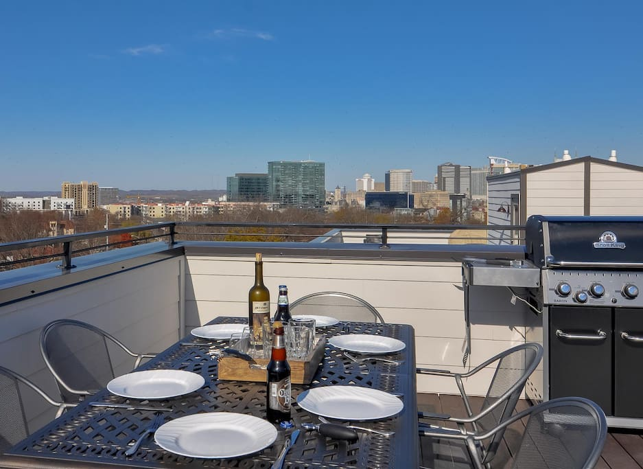 Bring your guests to the rooftop for dining and skyline views