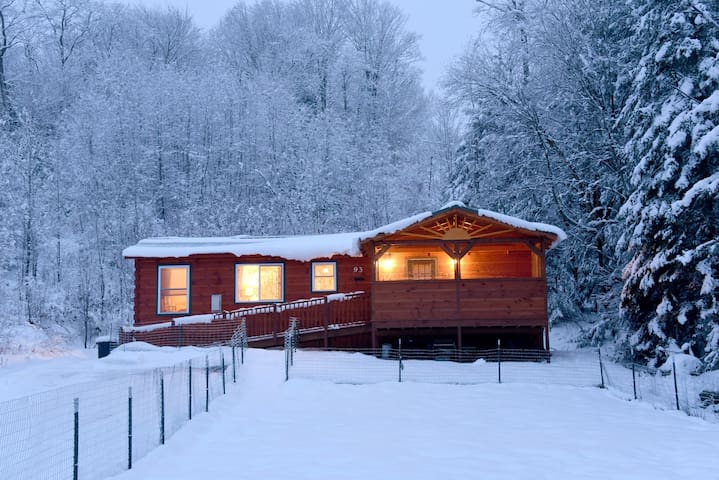 Cabin after a snowfall