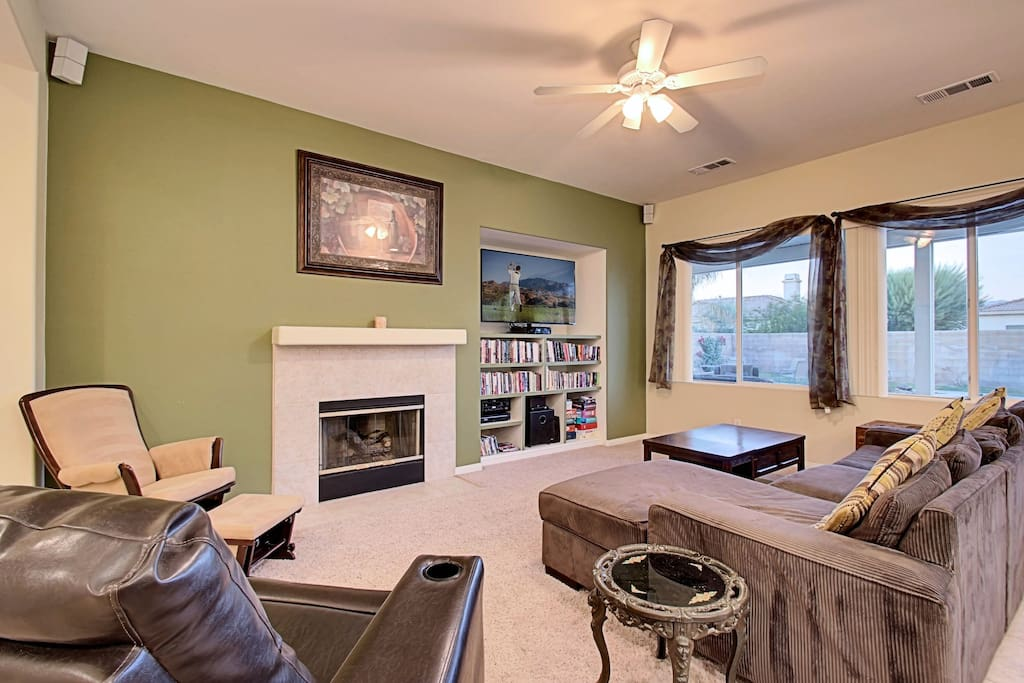 comfortable seats, surround sound, and fireplace make for relaxing in style.