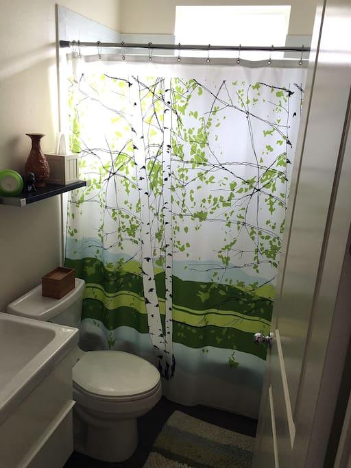 Private bathroom next to bedroom.