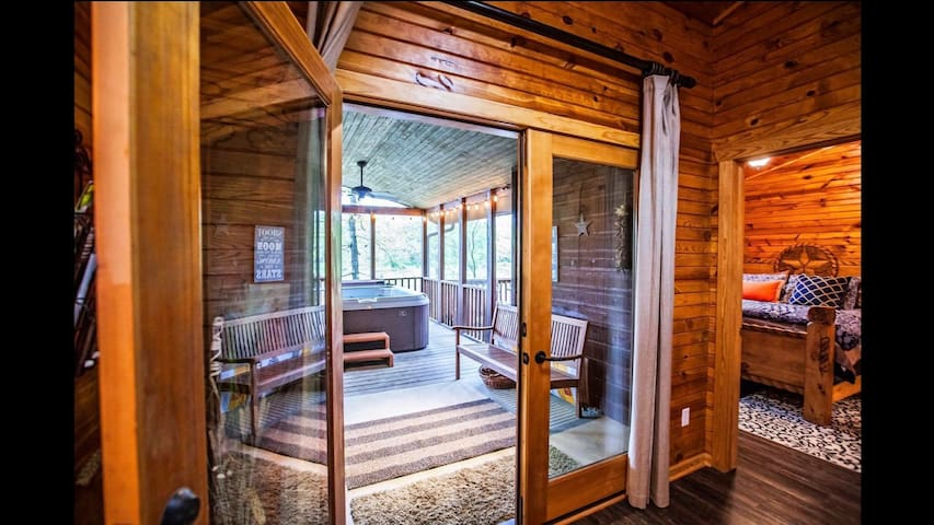 Beautiful exit to porches and hot tub