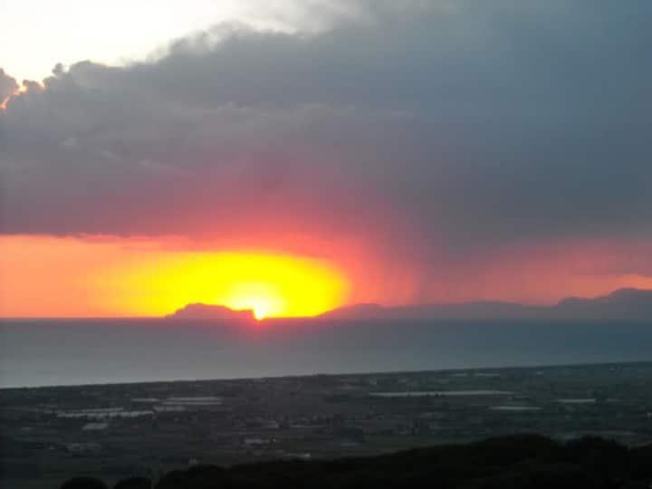 Casa con vista Paestum e isola di Capri +parking