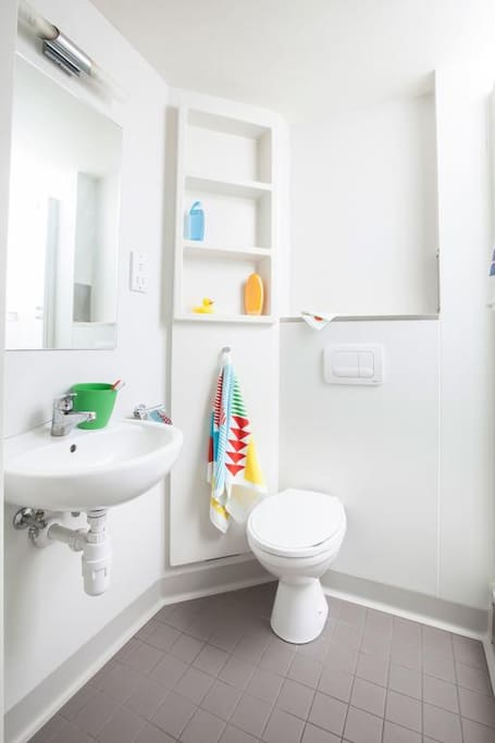 An example of one of the private bathrooms in the studios