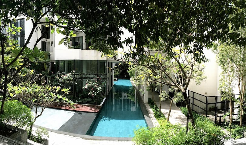 Cool off in our lap pool, the gym is in that little air-conditioned glass box ( on the left ) overlooking the pool.
