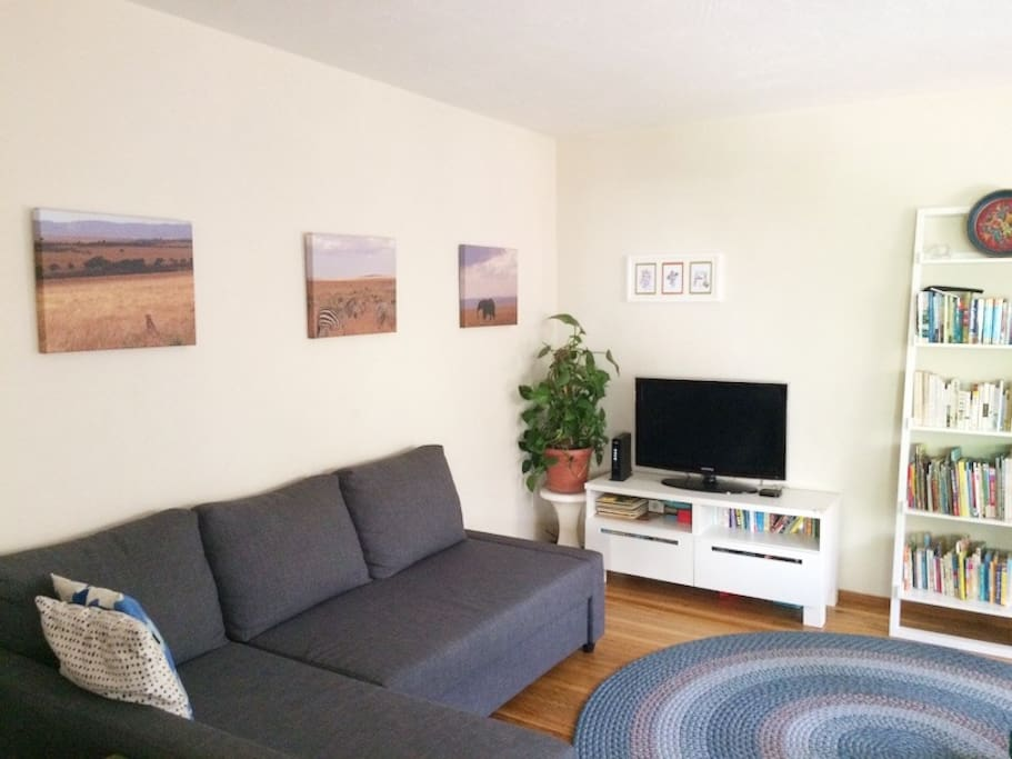 Living room with comfortable seating area, TV with apple TV/HBO Go/Amazon Fire. Also includes piano and guitar if you are musically inclined.
