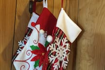 Stockings decorate our cabin during the winter holidays.