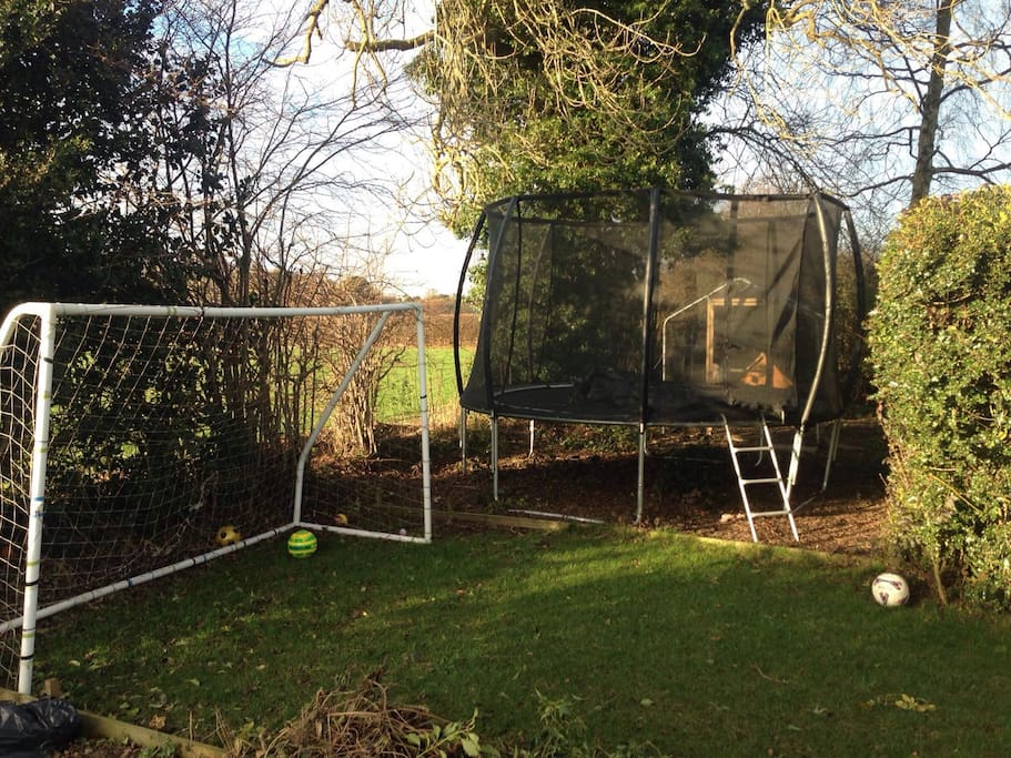 Football net and trampoline