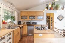 Spacious kitchen, ample storage space.