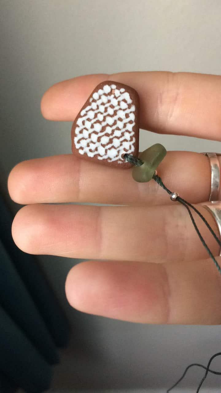 Seaglass and tile pendant