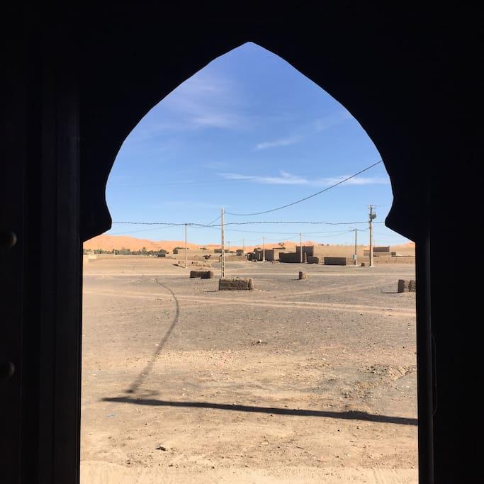looking out front door.