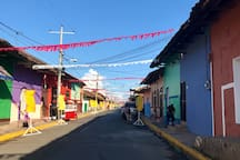Calle Santa Lucia, decorating for La Purisima (Casa Romantica is the blue house on the right)