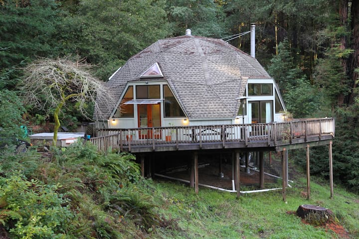 Redwood Dome Retreat in the Forest - Казадеро - Бунгало