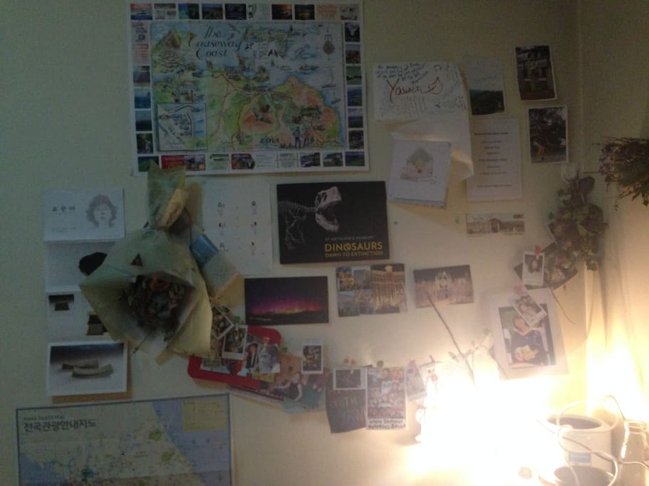 My room, and the wall of fame. (very small and quiet place here)