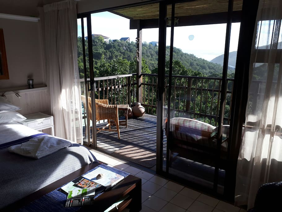 Scenic ocean and forest views from main bedroom.