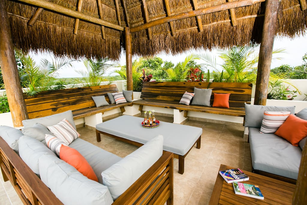 The private shade palapa with seating for 8.