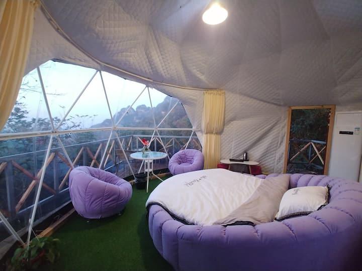 武当山本来民宿☞躺在床上看金顶紫霄,浪漫大圆床,野奢星空帐篷房