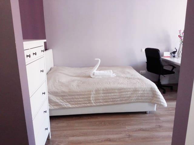 Удобная двуспальная кровать и лебедь :)