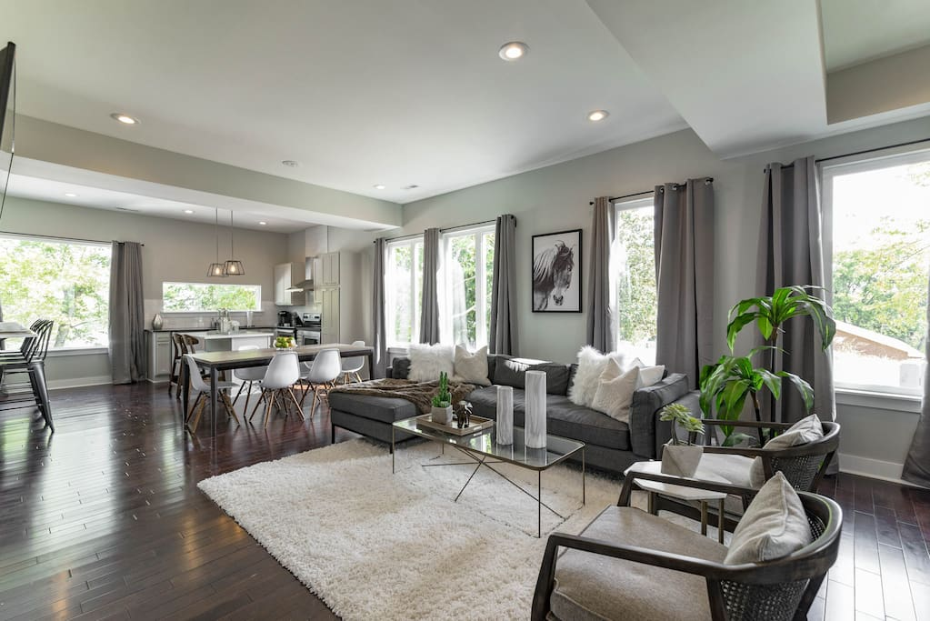 Open floor plan ideal for large groups or families.