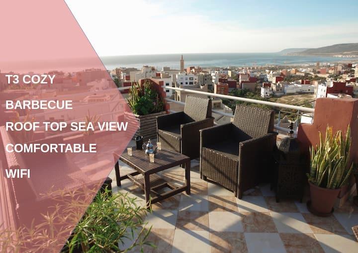 Dar Oceana 3 Rooftop vue panoramique sur l'océan, plage à 5 min, appart 80m² idéal famille et surfeur