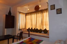 """Enrich your leisurely experience sitting in the""""Jharokha"""" overlooking the city n cherishing the sunset."""