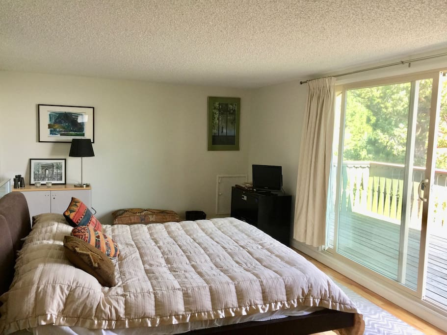 Spacious master bedroom with private bath and deck
