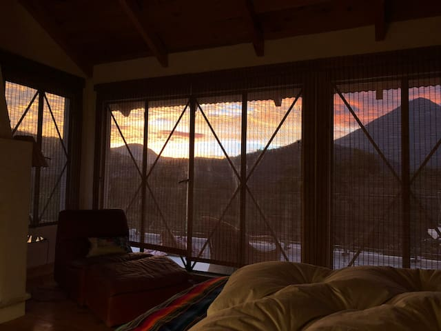 Dawn from inside the master bedroom