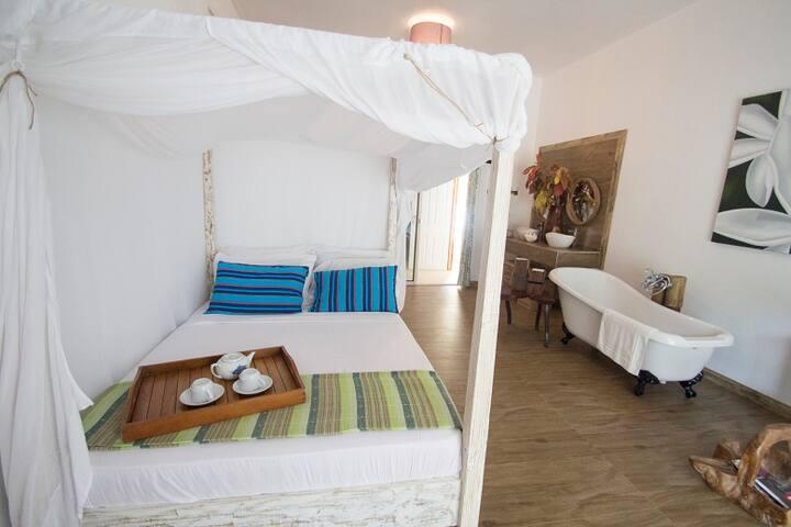 Beautiful luxury open bathroom bedroom apartment