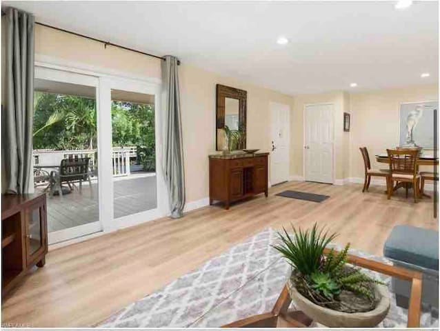 This open feeling condo has a spacious living/dining room area.