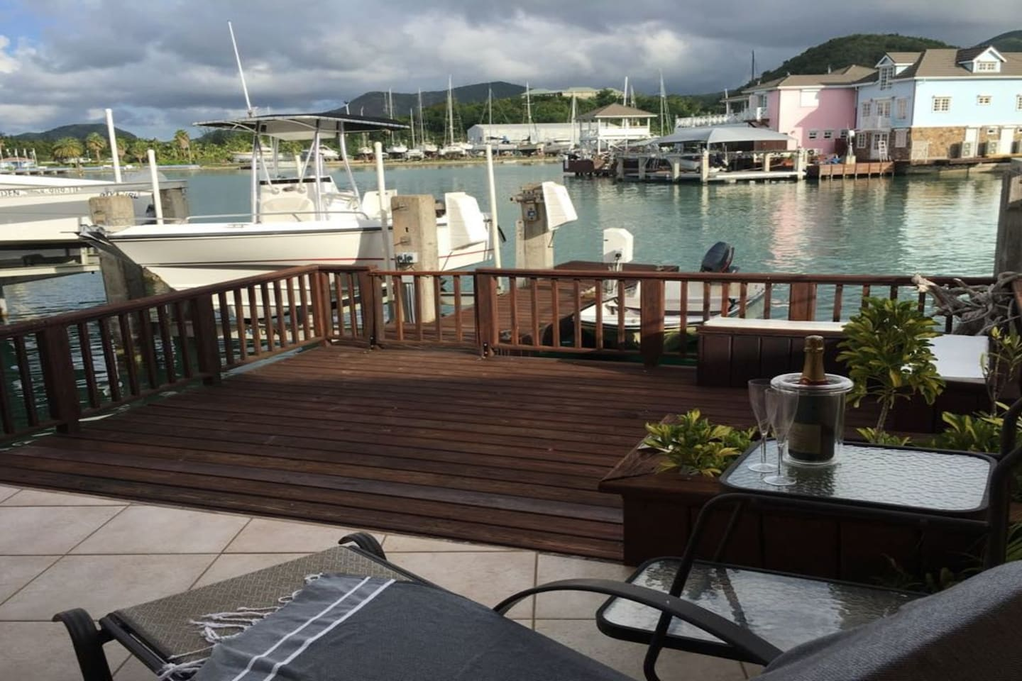 Serene view of deck and across the harbour