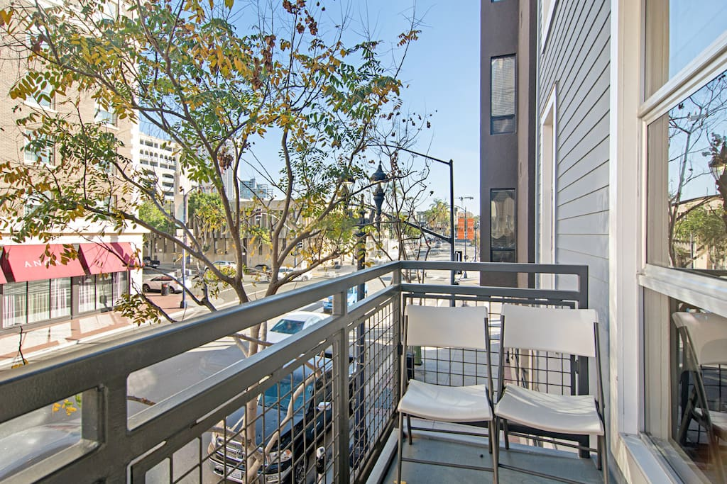 Enjoy your morning coffee while soaking up downtown views from atop your private balcony.