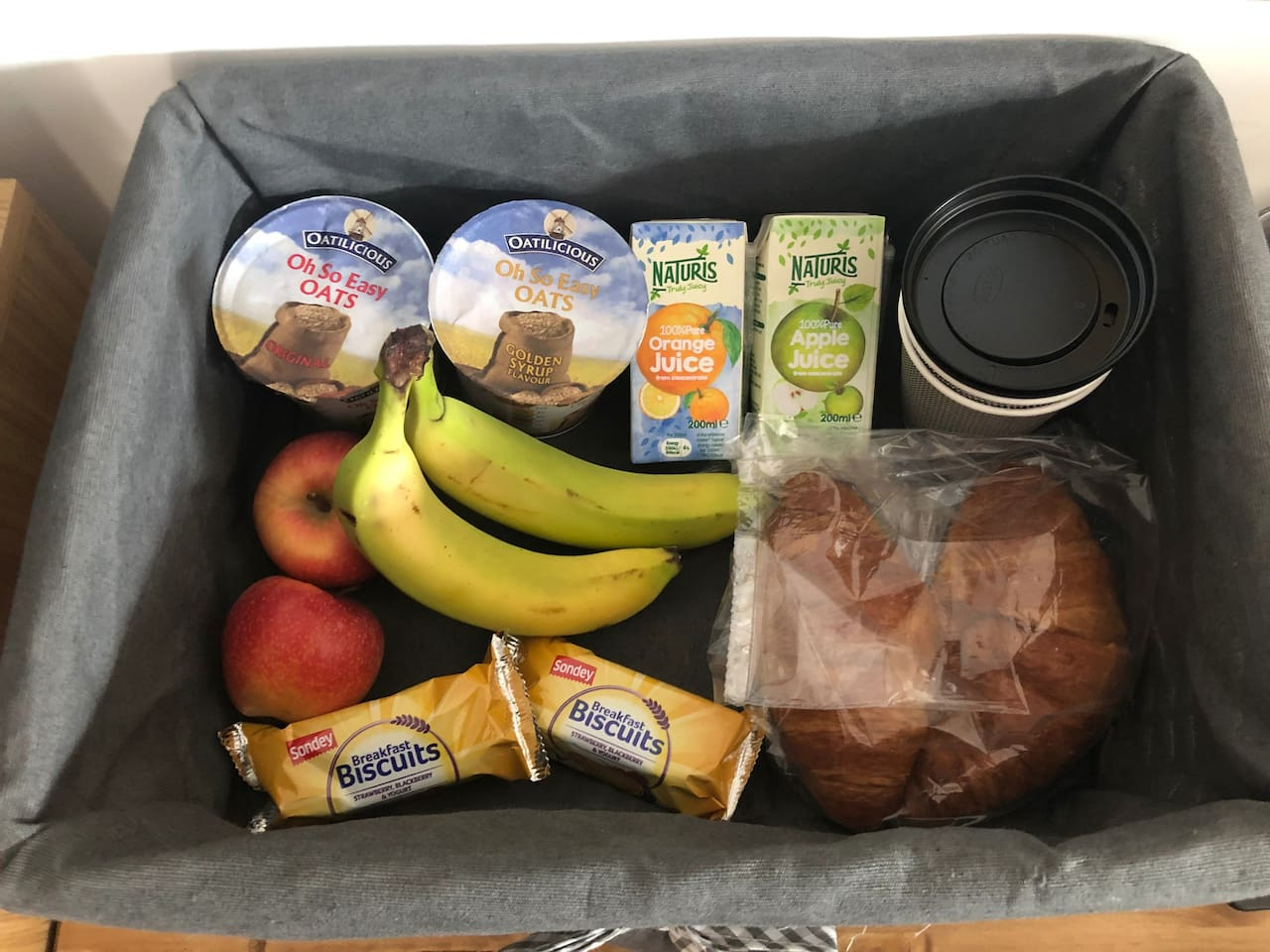 Typical contents of breakfast basket.