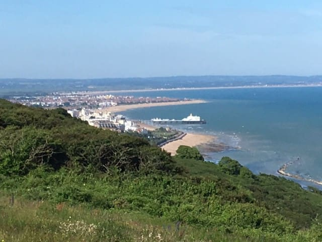 View of Eastbourne from the South Downs