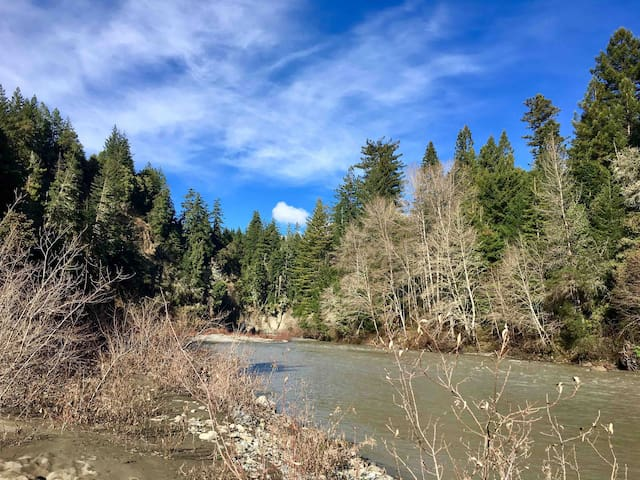 Redwood River Cottage backyard/Van Duzen River