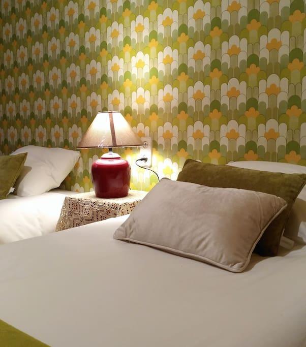 Habitacion Verde. 2 camas individuales