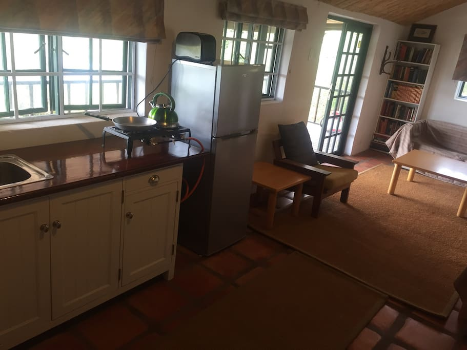 View from inside the cottage with basic kitchenette.