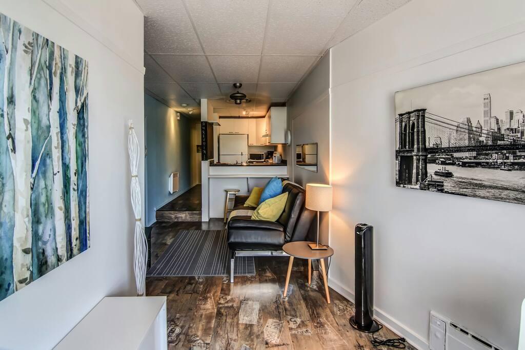 Bienvenue au Studio Urbania! Au salon, le grand divan de cuir peut être transformé en lit double pour vos jeunes enfants ou invités.