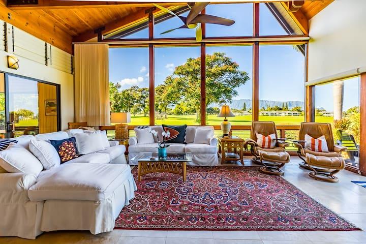 Perfect location on Makai Golf Course w/ocean & mountain views! 2 masters + loft