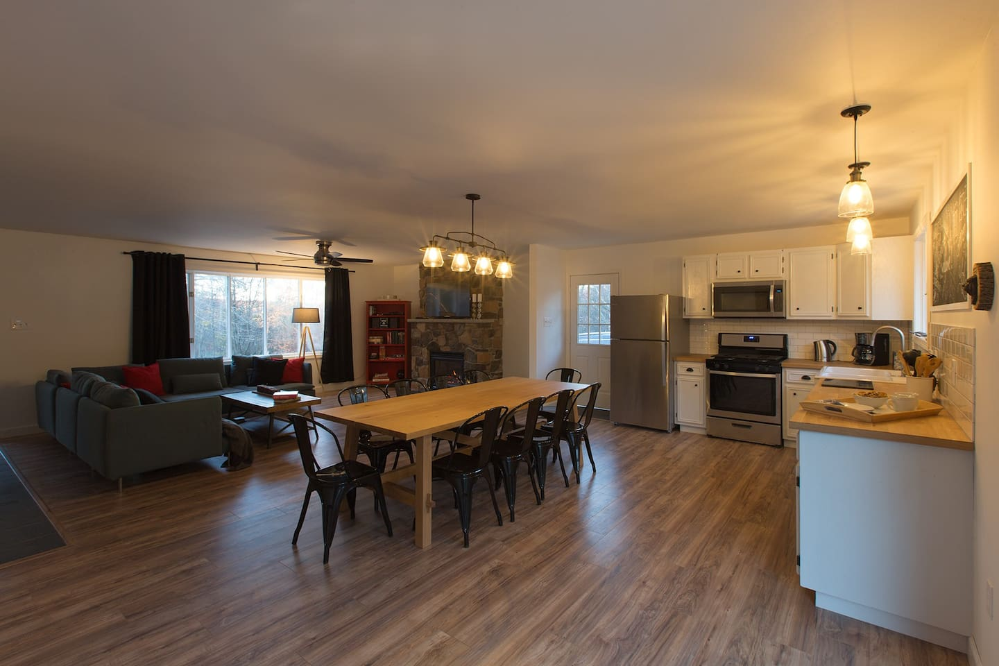 Huge open living/dining area is perfect for gathering