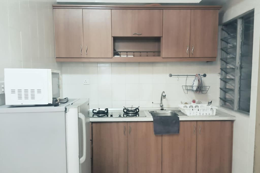 Kitchen with stove + fridge + microwave. There is washing machine as well