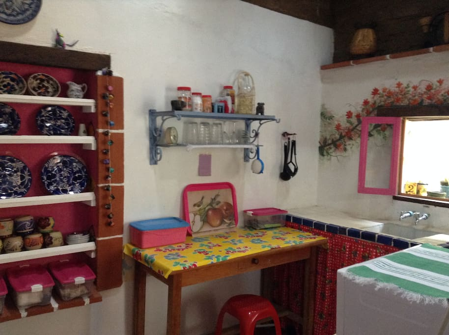 A COLORFUL AND MEXICAN KITCHEN WITH HISTORY, ABOUT 100 YEARS OLD.
