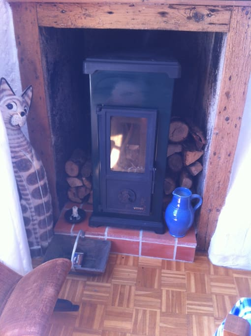 Wood burning stove for winter months.