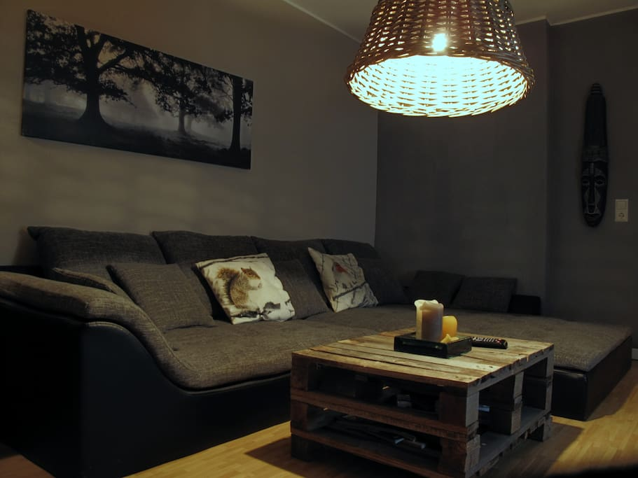Living room with XXL laugh couch