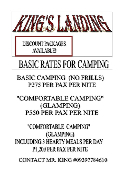 Here are our Rates.. Please Note the Rates are Per Person Per Nite!