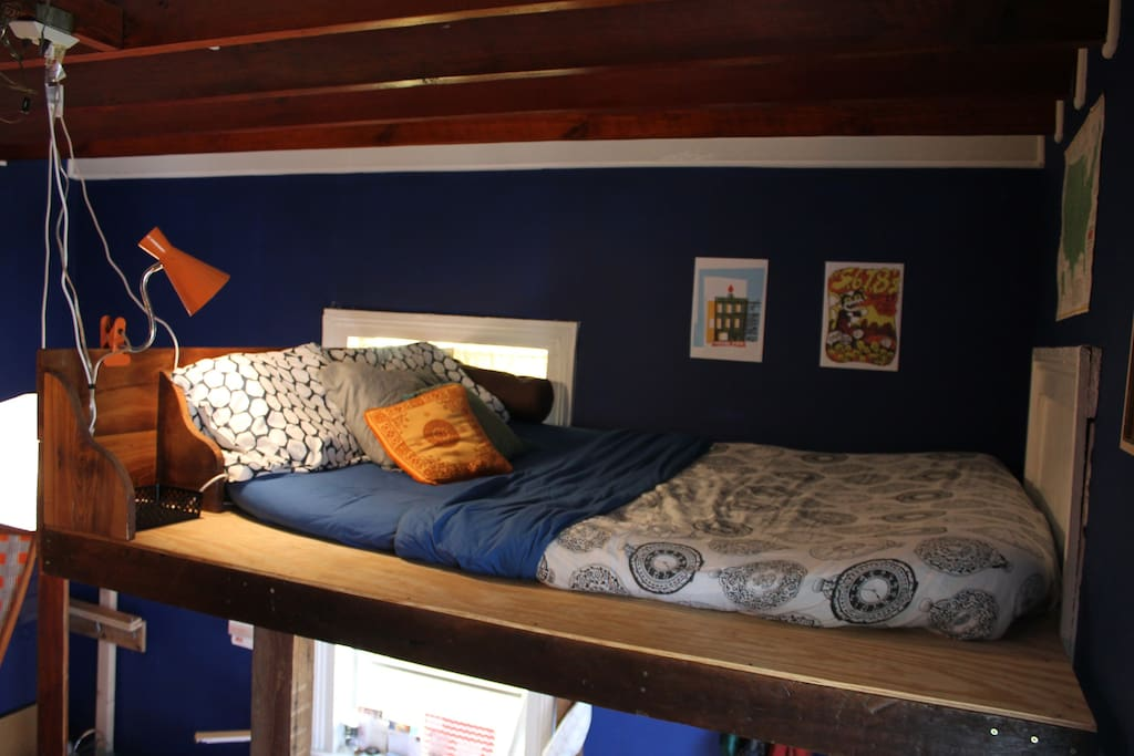 Full bed in the loft.