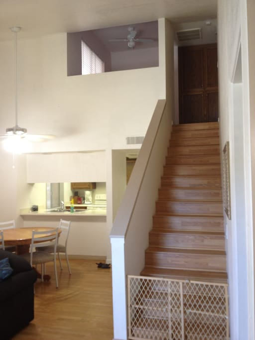Stairs to second level/loft area upstairs