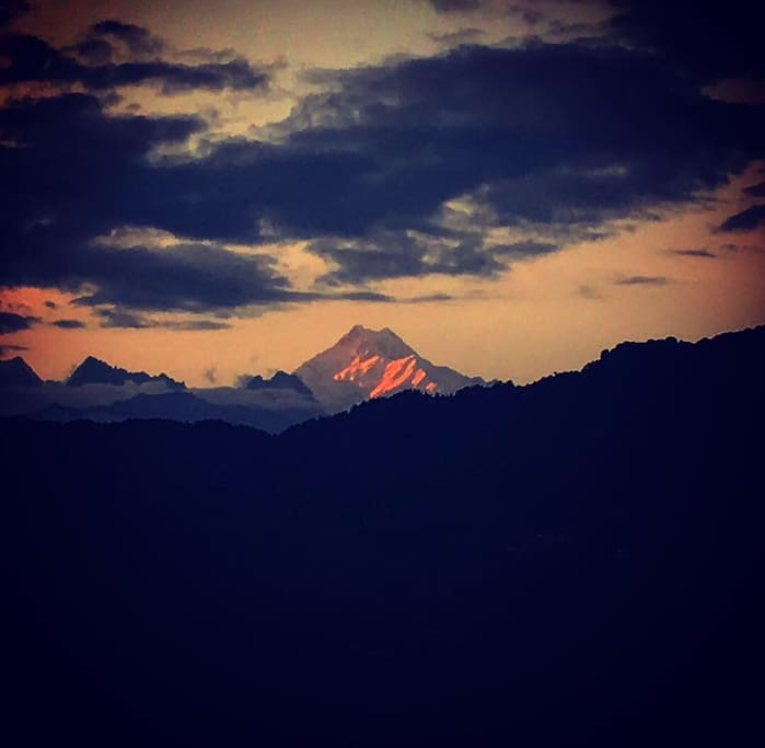 Sunset over Mt. Khangchendzonga from the living room