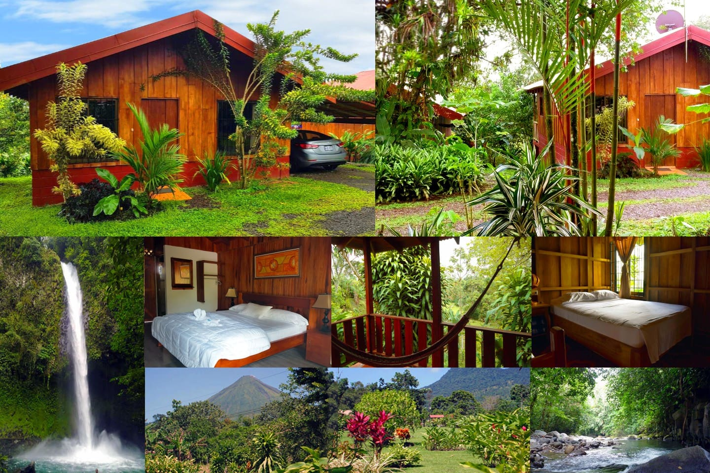 Tropical location, private and safe, Cabins are located along the river banks with a views of the Arenal Volcano, minutes to the waterfall and La Fortuna Central.