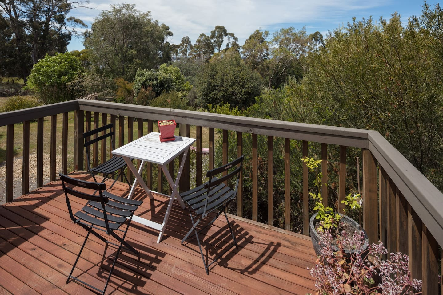 Sit on the beautiful deck eating your breakfast or drinking your morning coffee in the sun or sipping a beverage at the end of the day.